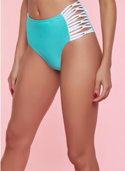 High Waisted Contrast Caging Bikini Bottom | Green - 1201072291919