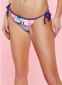Printed String Bikini Bottom - 1201072291926