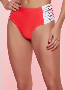 High Waisted Contrast Caging Bikini Bottom - 1201072299101