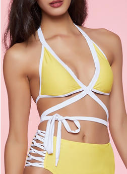 Contrast Trim Wrap Around Bikini Top | Yellow - 1201072299191