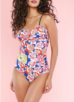 Floral Print Tie Back One Piece Swimsuit - 1201074121209