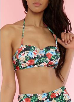 Printed Lace Up Back Bikini Top - GREEN - 1201074121211