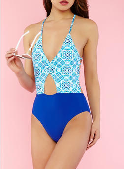 Caged Back One Piece Swimsuit - 1201074216315