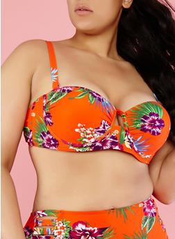 Plus Size Floral Bikini Top - 1203060584707