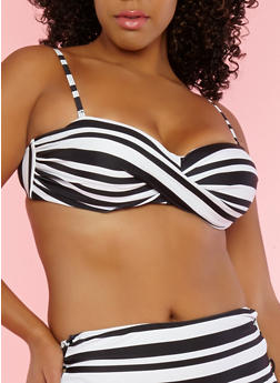 Plus Size Striped Twist Bandeau Bikini Top - 1203074121215