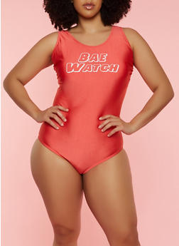 Plus Size Bae Watch One Piece Swimsuit - 1203074210300