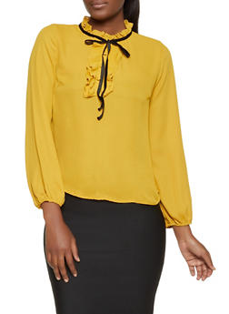 Contrast Tie Neck Ruffled Blouse - 1281069391007