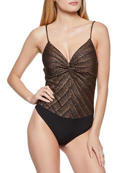 Lurex Twist Front Thong Bodysuit - 1284069390747