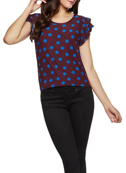 Tiered Sleeve Polka Dot Top - 1284069395185