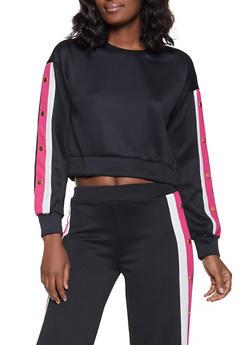 Scuba Striped Sleeve Detail Sweatshirt - 1285069395104