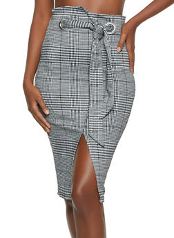 Plaid Tie Waist Pencil Skirt - 1287069398016