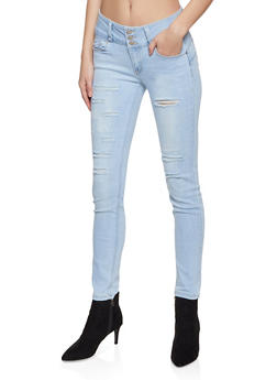 WAX 3 Button Distressed Skinny Jeans - 1288071610067