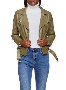 Belted Zipper Detail Moto Jacket - 1289068198046