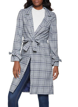 Plaid Trench Coat - 1289069392022