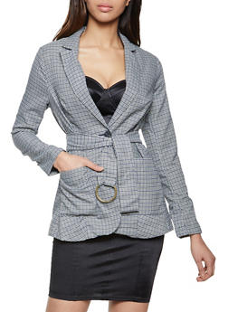 Two Button Plaid Blazer - 1289069392023
