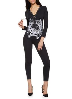 Lace Up Graphic Jumpsuit - 1290062709939