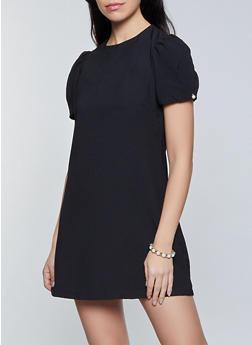 Faux Pearl Studded Bubble Sleeve Dress - 1290068193163