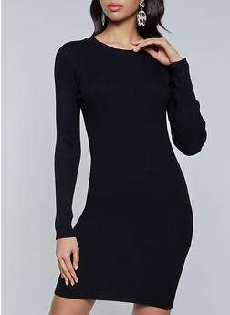Ribbed Knit Midi Sweater Dress - 1290068193198