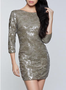 Sequin Crew Neck Bodycon Dress - 1290068193269