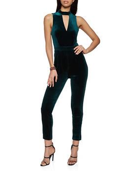 Velvet Keyhole Lace Back Jumpsuit - 1290068195406