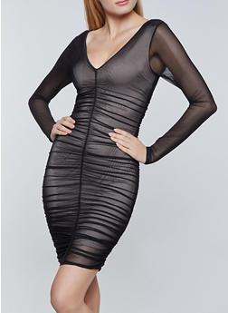 Ruched Mesh Bodycon Dress - 1290068196691