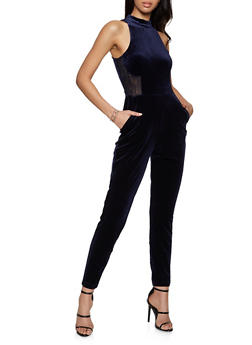 Velvet Lace Detail Jumpsuit - 1290068196813
