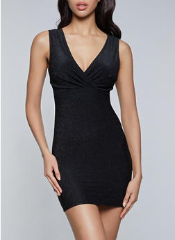 Lurex Faux Wrap Bodycon Dress - 1290068197141