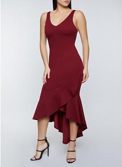 Sleeveless Ruffle Hem Bodycon Dress - 1290069394117