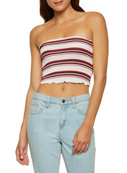 Striped Rib Knit Tube Top | 1300054261067 - 1300054261067