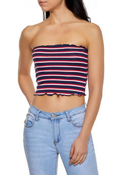 Striped Lettuce Edge Tube Top - 1300054261068