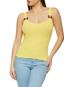 Buckle Detail Ribbed Tank Top - 1300054261944