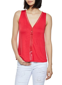 Crochet Insert V Neck Tank Top - 1300054262284