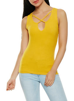 Caged Neck Ribbed Knit Tank Top - 1300054269621