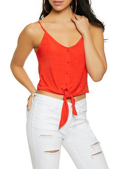 Cropped Button Front Cami - 1300058750389