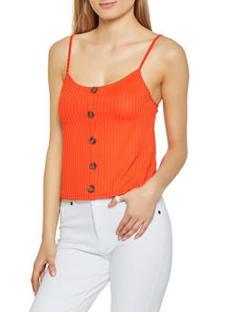 Rib Knit Button Front Cami - 1300058751323
