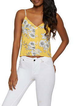 Floral Button Detail Cami - 1300058751849