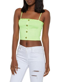 Rib Knit Lettuce Edge Cropped Cami - 1300058751931