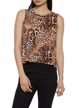 Leopard High Low Tank Top - 1300058752349