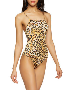 Square Neck Leopard Bodysuit - 1300074297124