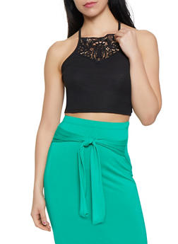Crochet Detail Cropped Cami - 1300074297138
