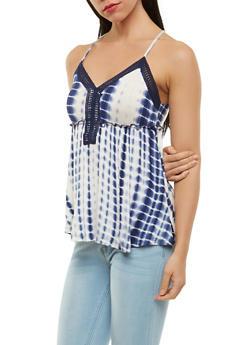 Tie Dye Crochet Detail Tank Top - 1301015993380