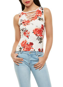 Floral Caged Neck Tank Top - 1301015995137