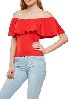 Soft Knit Off the Shoulder Top - 1301015995396