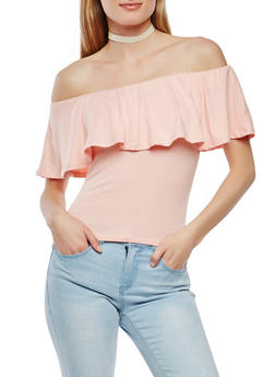 Soft Knit Off the Shoulder Top - 1301015995396