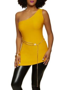 One Shoulder Chain Belt Top - 1301038340144