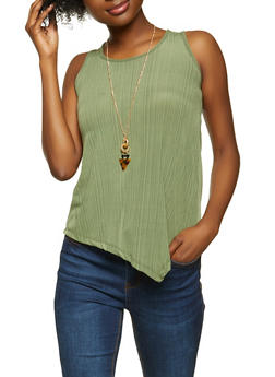 Asymmetrical Tank Top with Necklace - 1301038340427