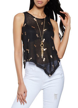 Foil Pineapple Print Top with Necklace - 1301038340448