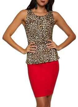 Twist Front Cheetah Peplum Top - 1301054261294