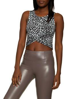 Leopard Twist Front Crop Top - 1301054261319