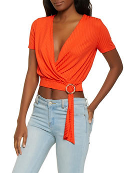Ribbed Faux Wrap Buckle Top - 1301058750526